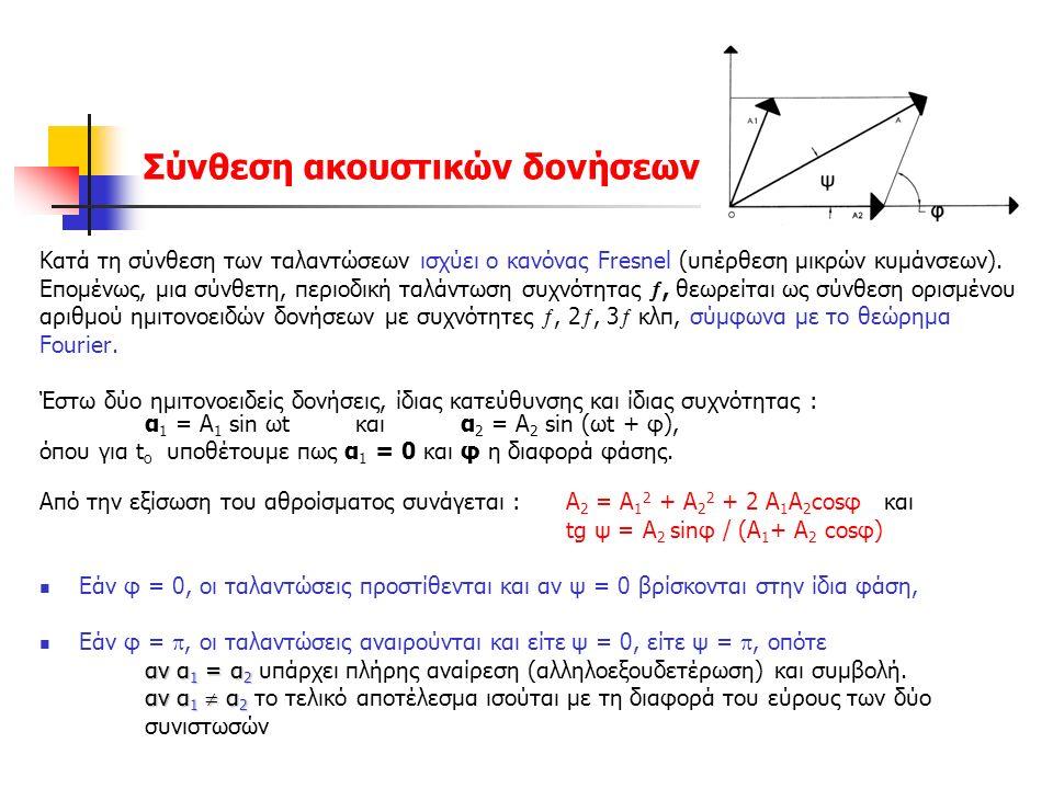 Σύνθεση ακουστικών δονήσεων Κατά τη σύνθεση των ταλαντώσεων ισχύει ο κανόνας Fresnel (υπέρθεση μικρών κυμάνσεων).
