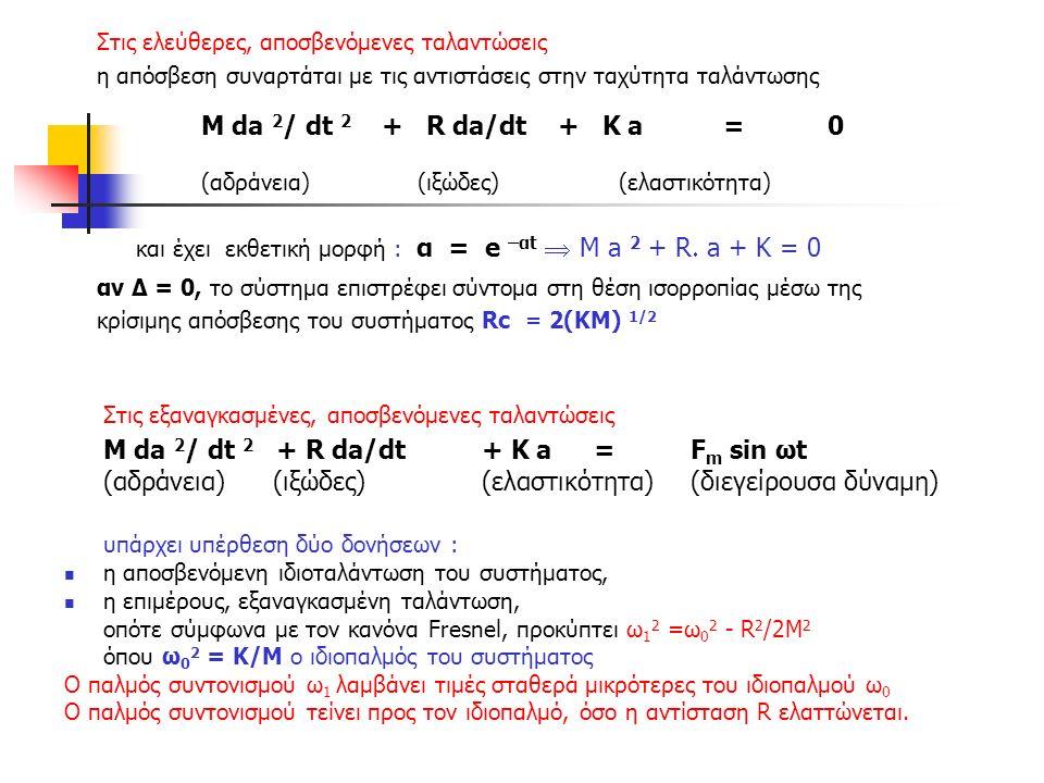 Στις ελεύθερες, αποσβενόμενες ταλαντώσεις η απόσβεση συναρτάται με τις αντιστάσεις στην ταχύτητα ταλάντωσης Μ da 2 / dt 2 + R da/dt + Κ a = 0 (αδράνεια) (ιξώδες) (ελαστικότητα) και έχει εκθετική μορφή : α = e –αt  Μ a 2 + R  a + K = 0 αν Δ = 0, το σύστημα επιστρέφει σύντομα στη θέση ισορροπίας μέσω της κρίσιμης απόσβεσης του συστήματος Rc = 2(ΚΜ) 1/2 Στις εξαναγκασμένες, αποσβενόμενες ταλαντώσεις Μ da 2 / dt 2 + R da/dt + Κ a = F m sin ωt (αδράνεια) (ιξώδες) (ελαστικότητα) (διεγείρουσα δύναμη) υπάρχει υπέρθεση δύο δονήσεων : η αποσβενόμενη ιδιοταλάντωση του συστήματος, η επιμέρους, εξαναγκασμένη ταλάντωση, οπότε σύμφωνα με τον κανόνα Fresnel, προκύπτει ω 1 2 =ω 0 2 - R 2 /2Μ 2 όπου ω 0 2 = Κ/Μ ο ιδιοπαλμός του συστήματος Ο παλμός συντονισμού ω 1 λαμβάνει τιμές σταθερά μικρότερες του ιδιοπαλμού ω 0 Ο παλμός συντονισμού τείνει προς τον ιδιοπαλμό, όσο η αντίσταση R ελαττώνεται.