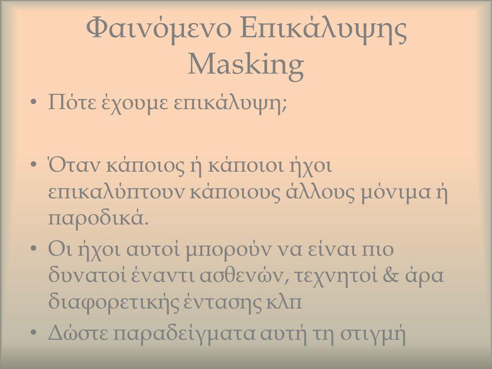 Φαινόμενο Επικάλυψης Masking Πότε έχουμε επικάλυψη; Όταν κάποιος ή κάποιοι ήχοι επικαλύπτουν κάποιους άλλους μόνιμα ή παροδικά. Οι ήχοι αυτοί μπορούν
