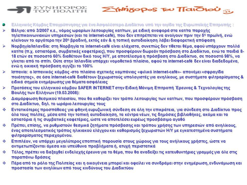 Ελληνικός Κόμβος Επαγρύπνησης για ένα Ασφαλέστερο Διαδίκτυο υπό την αιγίδα της Ευρωπαϊκής Επιτροπής :  Βέλγιο: από 3/2007 κ.ε., νόμος ωραρίων λειτουργίας κατ/των, με ειδική αναφορά στα κατ/τα παροχής τηλεπικοινωνιακών υπηρεσιών (και τα internet-café), που δεν επιτρέπεται να ανοίγουν πριν την 5 η πρωϊνή, ενώ κλείνουν το αργότερο την 20 η βραδινή, εκτός εάν & η τοπική αυτοδιοίκηση λάβει διαφορετική απόφαση  Νορβηγία/Ισλανδία: στη Νορβηγία τα internet-café είναι ελάχιστα, συνεπώς δεν τίθεται θέμα, αφού υπάρχουν πολλά κατ/τα (π.χ.