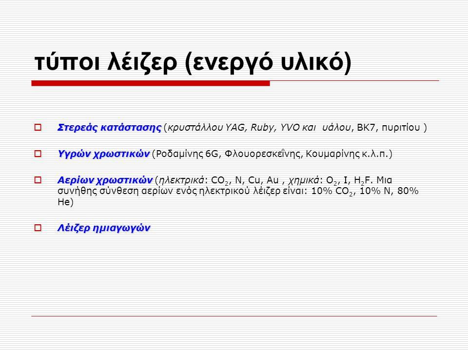 τύποι λέιζερ (ενεργό υλικό)  Στερεάς κατάστασης  Στερεάς κατάστασης (κρυστάλλου YAG, Ruby, YVO και υάλου, BK7, πυριτίου )  Υγρών χρωστικών  Υγρών χρωστικών (Ροδαμίνης 6G, Φλουορεσκεΐνης, Κουμαρίνης κ.λ.π.)  Aερίων χρωστικών  Aερίων χρωστικών (ηλεκτρικά: CO 2, N, Cu, Au, χημικά: O 2, I, H 2 F.