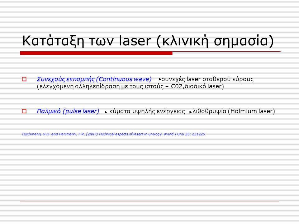 Κατάταξη των laser (κλινική σημασία)  Συνεχούς εκπομπής (Continuous wave)  Συνεχούς εκπομπής (Continuous wave) συνεχές laser σταθερού εύρους (ελεγχόμενη αλληλεπίδραση με τους ιστούς – C02,διοδικό laser)  Παλμικό (pulse laser)  Παλμικό (pulse laser) κύματα υψηλής ενέργειας λιθοθρυψία (Holmium laser) Teichmann, H.O.