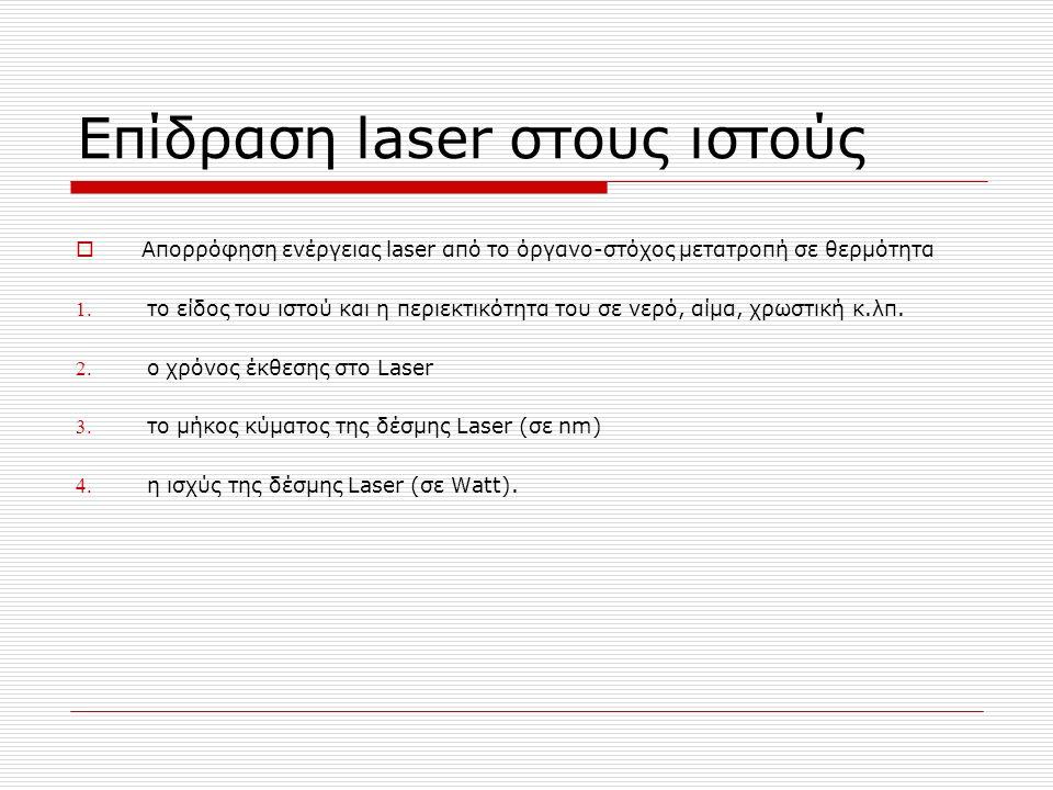 Επίδραση laser στους ιστούς  Απορρόφηση ενέργειας laser από το όργανο-στόχος μετατροπή σε θερμότητα 1.