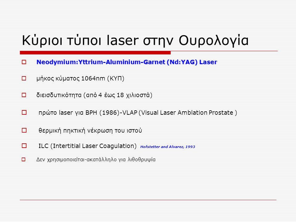 Κύριοι τύποι laser στην Ουρολογία  Neodymium:Yttrium-Aluminium-Garnet (Nd:YAG) Laser  Neodymium:Yttrium-Aluminium-Garnet (Nd:YAG) Laser  μήκος κύματος 1064nm (ΚΥΠ)  διεισδυτικότητα (από 4 έως 18 χιλιοστά)  πρώτο laser για BPH (1986)-VLAP (Visual Laser Amblation Prostate )  θερμική πηκτική νέκρωση του ιστού  ILC (Intertitial Laser Coagulation) Hofstetter and Alvarez, 1993  Δεν χρησιμοποιείται-ακατάλληλο για λιθοθρυψία