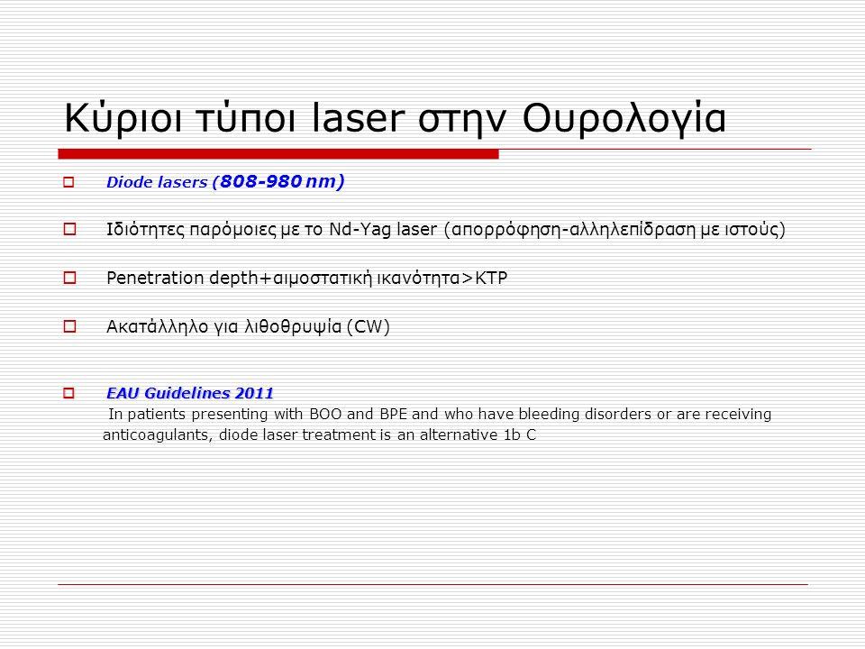 Κύριοι τύποι laser στην Ουρολογία  Diode lasers ( 808-980 nm)  Ιδιότητες παρόμοιες με το Nd-Yag laser (απορρόφηση-αλληλεπίδραση με ιστούς)  Penetration depth+αιμοστατική ικανότητα>KTP  Ακατάλληλο για λιθοθρυψία (CW)  EAU Guidelines 2011 In patients presenting with BOO and BPE and who have bleeding disorders or are receiving anticoagulants, diode laser treatment is an alternative 1b C