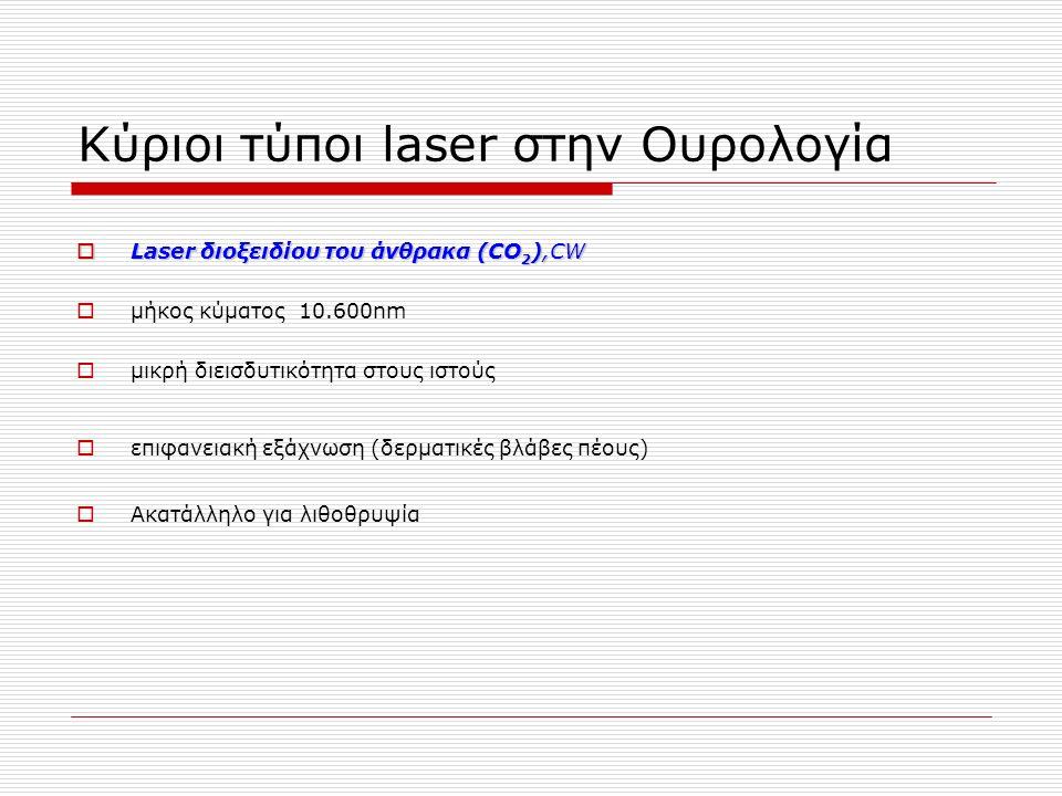 Κύριοι τύποι laser στην Ουρολογία  Laser διοξειδίου του άνθρακα (CO 2 ),CW  μήκος κύματος 10.600nm  μικρή διεισδυτικότητα στους ιστούς  επιφανειακή εξάχνωση (δερματικές βλάβες πέους)  Ακατάλληλο για λιθοθρυψία