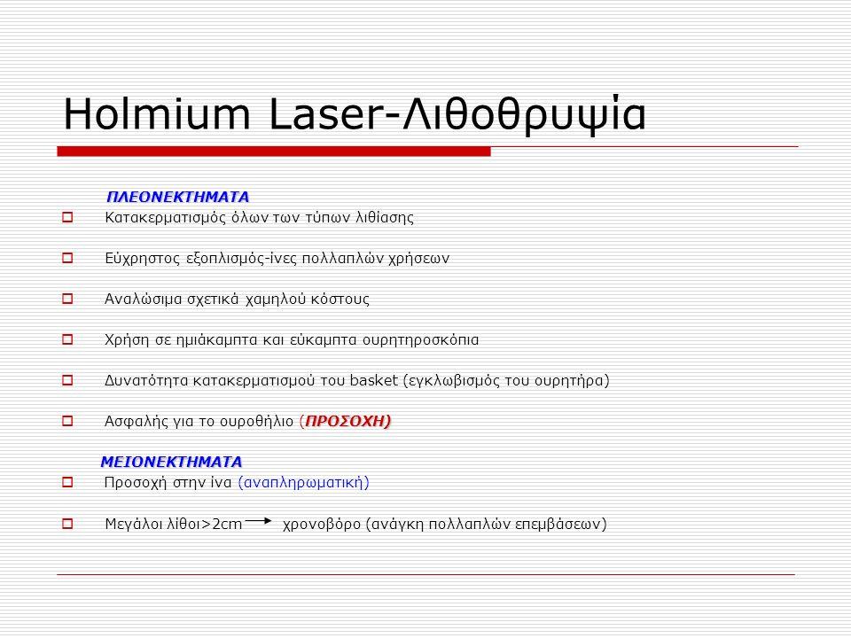Ηοlmium Laser-Λιθοθρυψία ΠΛΕΟΝΕΚΤΗΜΑΤΑ  Κατακερματισμός όλων των τύπων λιθίασης  Εύχρηστος εξοπλισμός-ίνες πολλαπλών χρήσεων  Αναλώσιμα σχετικά χαμηλού κόστους  Χρήση σε ημιάκαμπτα και εύκαμπτα ουρητηροσκόπια  Δυνατότητα κατακερματισμού του basket (εγκλωβισμός του ουρητήρα) ΠΡΟΣΟΧΗ)  Ασφαλής για το ουροθήλιο (ΠΡΟΣΟΧΗ) ΜΕΙΟΝΕΚΤΗΜΑΤΑ ΜΕΙΟΝΕΚΤΗΜΑΤΑ  Προσοχή στην ίνα (αναπληρωματική)  Μεγάλοι λίθοι>2cm χρονοβόρο (ανάγκη πολλαπλών επεμβάσεων)