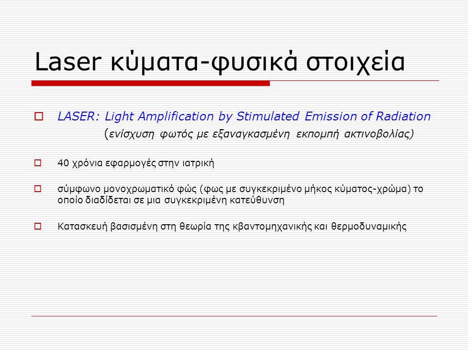Laser κύματα-φυσικά στοιχεία  LASER: Light Amplification by Stimulated Emission of Radiation ( ενίσχυση φωτός με εξαναγκασμένη εκπομπή ακτινοβολίας)  40 χρόνια εφαρμογές στην ιατρική  σύμφωνο μονοχρωματικό φώς (φως με συγκεκριμένο μήκος κύματος-χρώμα) το οποίο διαδίδεται σε μια συγκεκριμένη κατεύθυνση  Κατασκευή βασισμένη στη θεωρία της κβαντομηχανικής και θερμοδυναμικής