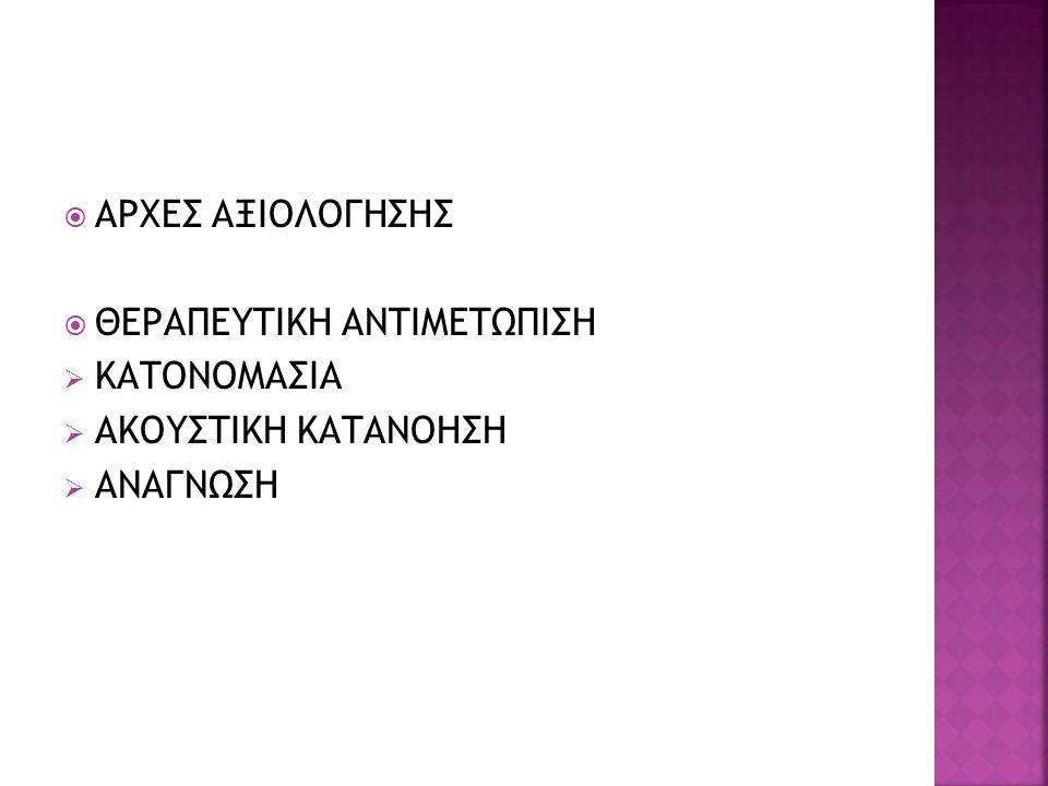  ΑΡΧΕΣ ΑΞΙΟΛΟΓΗΣΗΣ  ΘΕΡΑΠΕΥΤΙΚΗ ΑΝΤΙΜΕΤΩΠΙΣΗ  ΚΑΤΟΝΟΜΑΣΙΑ  ΑΚΟΥΣΤΙΚΗ ΚΑΤΑΝΟΗΣΗ  ΑΝΑΓΝΩΣΗ