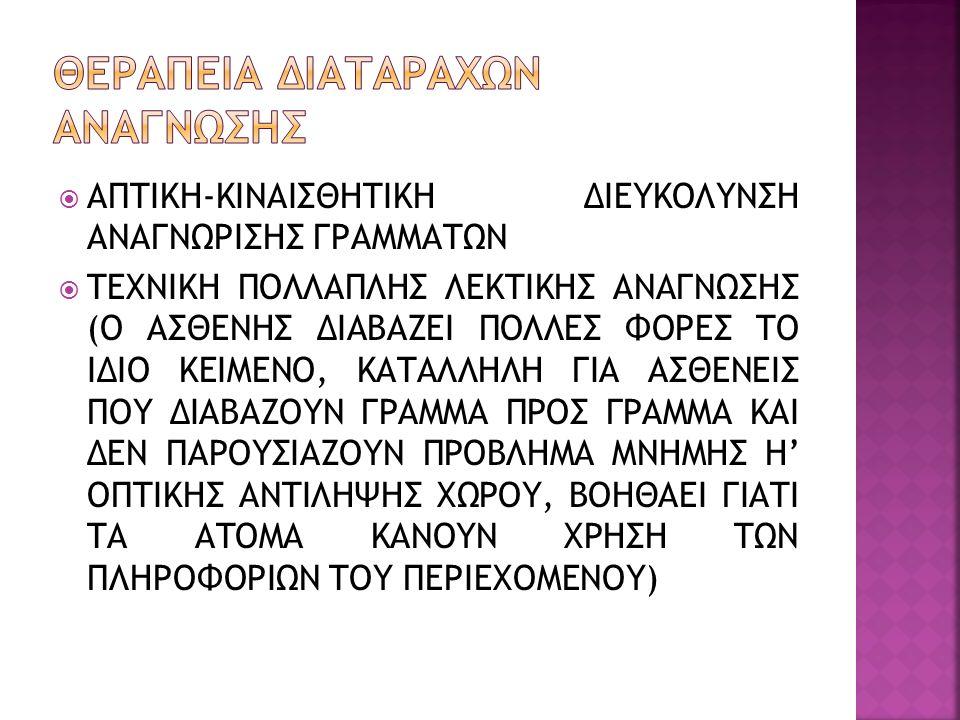  ΑΠΤΙΚΗ-ΚΙΝΑΙΣΘΗΤΙΚΗ ΔΙΕΥΚΟΛΥΝΣΗ ΑΝΑΓΝΩΡΙΣΗΣ ΓΡΑΜΜΑΤΩΝ  ΤΕΧΝΙΚΗ ΠΟΛΛΑΠΛΗΣ ΛΕΚΤΙΚΗΣ ΑΝΑΓΝΩΣΗΣ (Ο ΑΣΘΕΝΗΣ ΔΙΑΒΑΖΕΙ ΠΟΛΛΕΣ ΦΟΡΕΣ ΤΟ ΙΔΙΟ ΚΕΙΜΕΝΟ, ΚΑΤΑΛΛΗΛΗ ΓΙΑ ΑΣΘΕΝΕΙΣ ΠΟΥ ΔΙΑΒΑΖΟΥΝ ΓΡΑΜΜΑ ΠΡΟΣ ΓΡΑΜΜΑ ΚΑΙ ΔΕΝ ΠΑΡΟΥΣΙΑΖΟΥΝ ΠΡΟΒΛΗΜΑ ΜΝΗΜΗΣ Η' ΟΠΤΙΚΗΣ ΑΝΤΙΛΗΨΗΣ ΧΩΡΟΥ, ΒΟΗΘΑΕΙ ΓΙΑΤΙ ΤΑ ΑΤΟΜΑ ΚΑΝΟΥΝ ΧΡΗΣΗ ΤΩΝ ΠΛΗΡΟΦΟΡΙΩΝ ΤΟΥ ΠΕΡΙΕΧΟΜΕΝΟΥ)