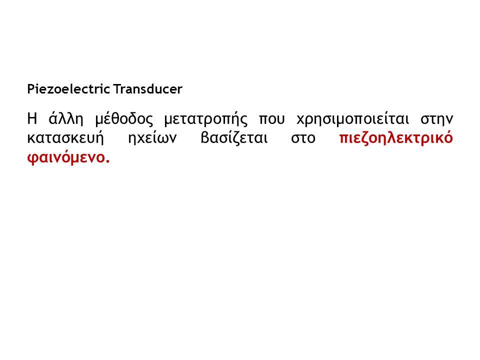 Piezoelectric Transducer Η άλλη μέθοδος μετατροπής που χρησιμοποιείται στην κατασκευή ηχείων βασίζεται στο πιεζοηλεκτρικό φαινόμενο.