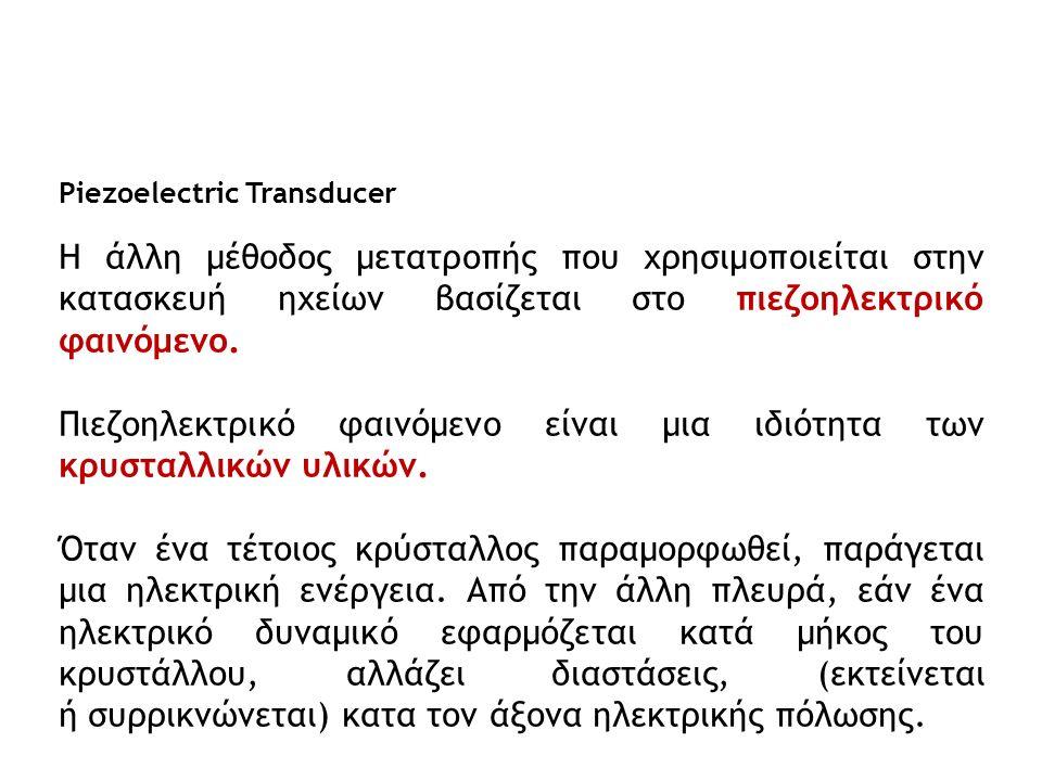 Piezoelectric Transducer Η άλλη μέθοδος μετατροπής που χρησιμοποιείται στην κατασκευή ηχείων βασίζεται στο πιεζοηλεκτρικό φαινόμενο. Πιεζοηλεκτρικό φα