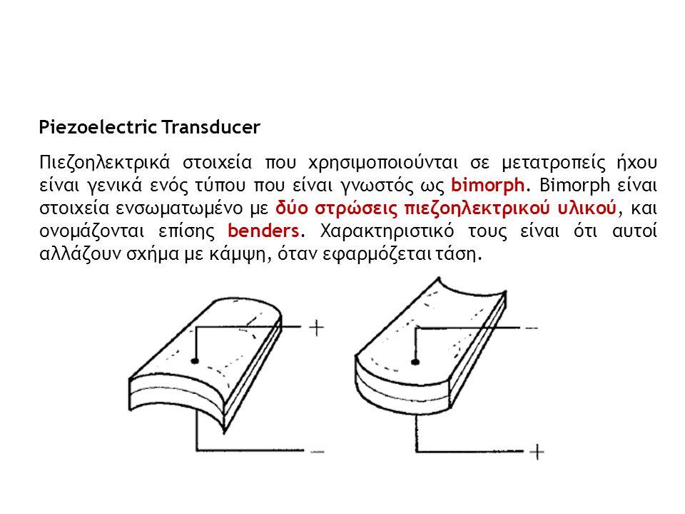 Piezoelectric Transducer Πιεζοηλεκτρικά στοιχεία που χρησιμοποιούνται σε μετατροπείς ήχου είναι γενικά ενός τύπου που είναι γνωστός ως bimorph. Bimorp