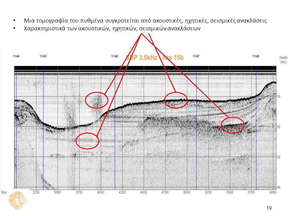 Μια τομογραφία του πυθμένα συγκροτείται από ακουστικές, ηχητικές, σεισμικές ανακλάσεις Χαρακτηριστικά των ακουστικών, ηχητικών, σεισμικών ανακλάσεων 19