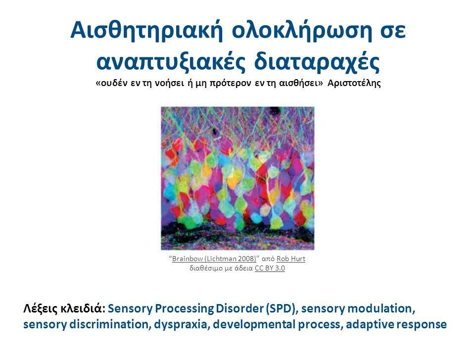 Αισθητηριακή ολοκλήρωση σε αναπτυξιακές διαταραχές «ουδέν εν τη νοήσει ή μη πρότερον εν τη αισθήσει» Αριστοτέλης Λέξεις κλειδιά: Sensory Processing Disorder (SPD), sensory modulation, sensory discrimination, dyspraxia, developmental process, adaptive response Brainbow (Lichtman 2008) από Rob Hurt διαθέσιμο με άδεια CC BY 3.0Brainbow (Lichtman 2008)Rob HurtCC BY 3.0