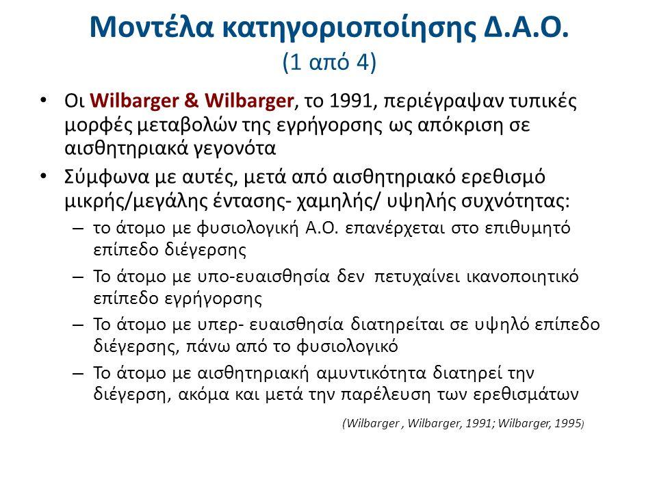 Μοντέλα κατηγοριοποίησης Δ.Α.Ο. (1 από 4) Οι Wilbarger & Wilbarger, το 1991, περιέγραψαν τυπικές μορφές μεταβολών της εγρήγορσης ως απόκριση σε αισθητ