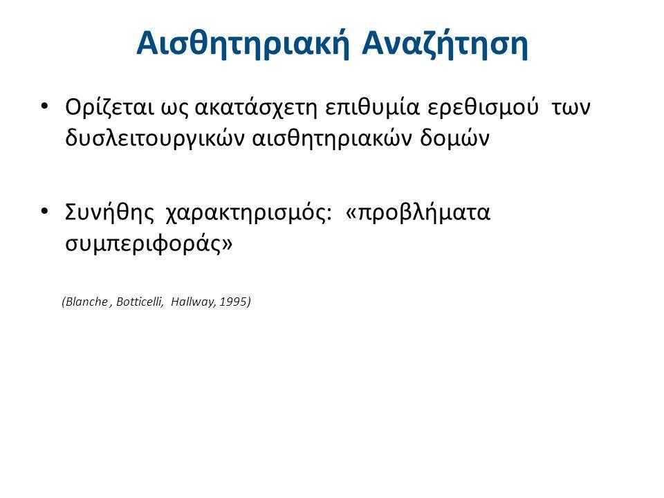 Αισθητηριακή Αναζήτηση Ορίζεται ως ακατάσχετη επιθυμία ερεθισμού των δυσλειτουργικών αισθητηριακών δομών Συνήθης χαρακτηρισμός: «προβλήματα συμπεριφοράς» (Blanche, Botticelli, Hallway, 1995)