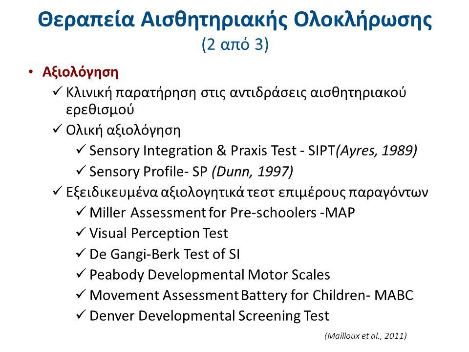 (Mailloux et al., 2011) Θεραπεία Αισθητηριακής Ολοκλήρωσης (2 από 3) Αξιολόγηση Κλινική παρατήρηση στις αντιδράσεις αισθητηριακού ερεθισμού Ολική αξιολόγηση Sensory Integration & Praxis Test - SIPT(Ayres, 1989) Sensory Profile- SP (Dunn, 1997) Εξειδικευμένα αξιολογητικά τεστ επιμέρους παραγόντων Miller Assessment for Pre-schoolers -MAP Visual Perception Test De Gangi-Berk Test of SI Peabody Developmental Motor Scales Movement Assessment Battery for Children- MABC Denver Developmental Screening Test