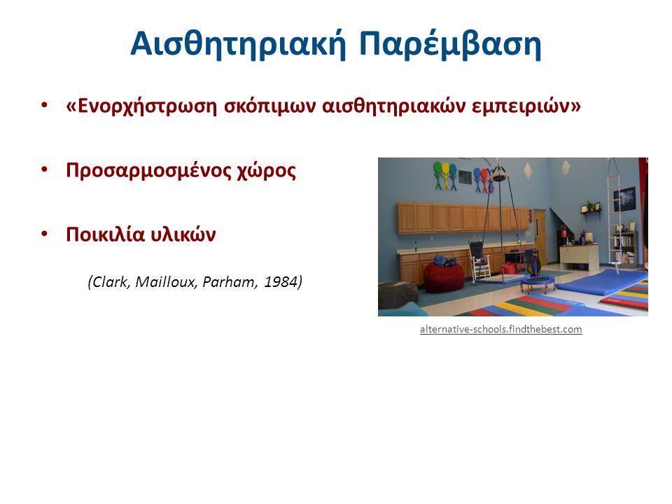 (Clark, Mailloux, Parham, 1984) Αισθητηριακή Παρέμβαση «Ενορχήστρωση σκόπιμων αισθητηριακών εμπειριών» Προσαρμοσμένος χώρος Ποικιλία υλικών alternative-schools.findthebest.com