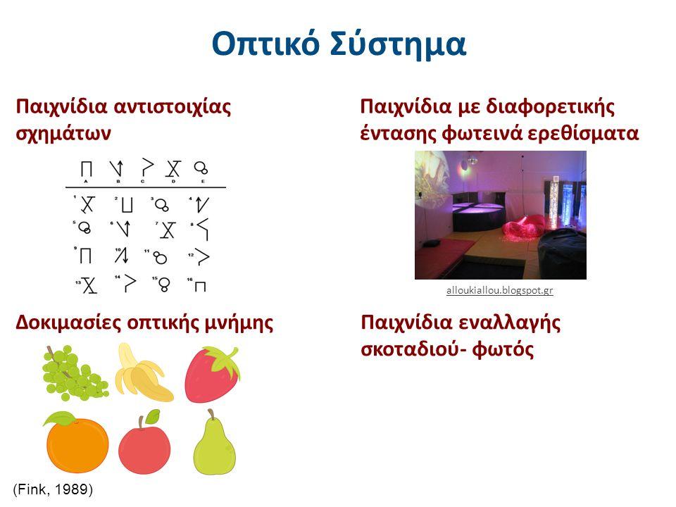 Οπτικό Σύστημα Παιχνίδια αντιστοιχίας σχημάτων alloukiallou.blogspot.gr (Fink, 1989) Παιχνίδια εναλλαγής σκοταδιού- φωτός Παιχνίδια με διαφορετικής έντασης φωτεινά ερεθίσματα Δοκιμασίες οπτικής μνήμης