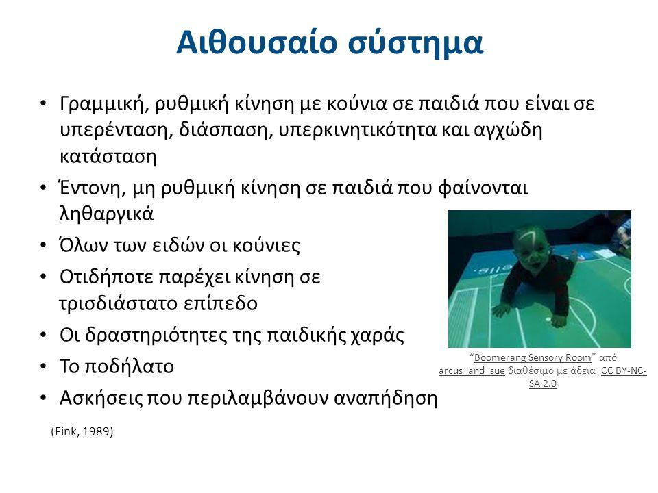 Αιθουσαίο σύστημα Γραμμική, ρυθμική κίνηση με κούνια σε παιδιά που είναι σε υπερένταση, διάσπαση, υπερκινητικότητα και αγχώδη κατάσταση Έντονη, μη ρυθ