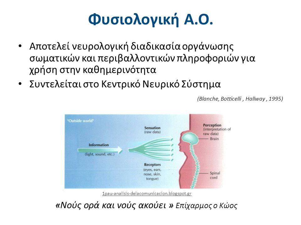 Φυσιολογική Α.Ο. Αποτελεί νευρολογική διαδικασία οργάνωσης σωματικών και περιβαλλοντικών πληροφοριών για χρήση στην καθημερινότητα Συντελείται στο Κεν