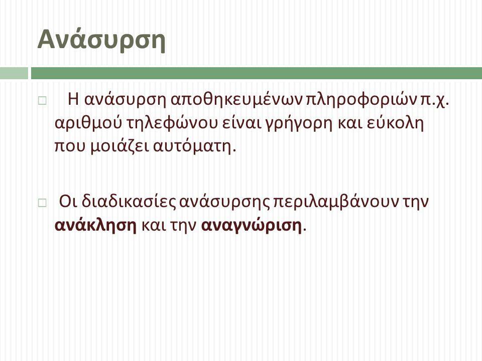 Ανάσυρση  Η ανάσυρση αποθηκευμένων πληροφοριών π.