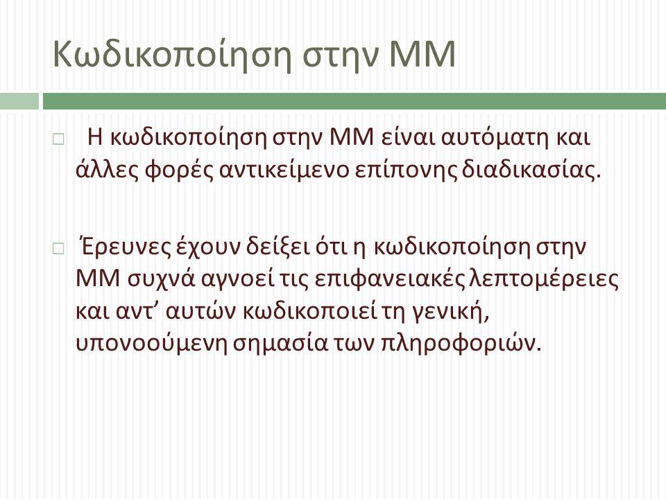 Κωδικοποίηση στην ΜΜ  Η κωδικοποίηση στην ΜΜ είναι αυτόματη και άλλες φορές αντικείμενο επίπονης διαδικασίας.