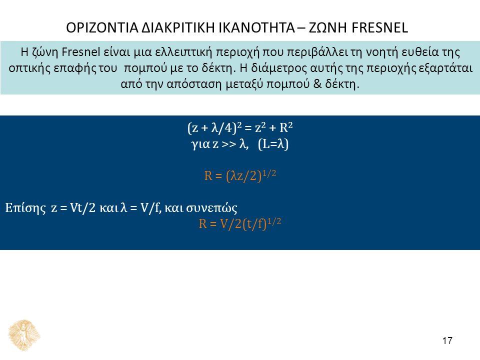 ΟΡΙΖΟΝΤΙΑ ΔΙΑΚΡΙΤΙΚΗ ΙΚΑΝΟΤΗΤΑ – ΖΩΝΗ FRESNEL (z + λ/4) 2 = z 2 + R 2 για z >> λ, (L=λ) R = (λz/2) 1/2 Επίσης z = Vt/2 και λ = V/f, και συνεπώς R = V/2(t/f) 1/2 17 Η ζώνη Fresnel είναι μια ελλειπτική περιοχή που περιβάλλει τη νοητή ευθεία της οπτικής επαφής του πομπού με το δέκτη.
