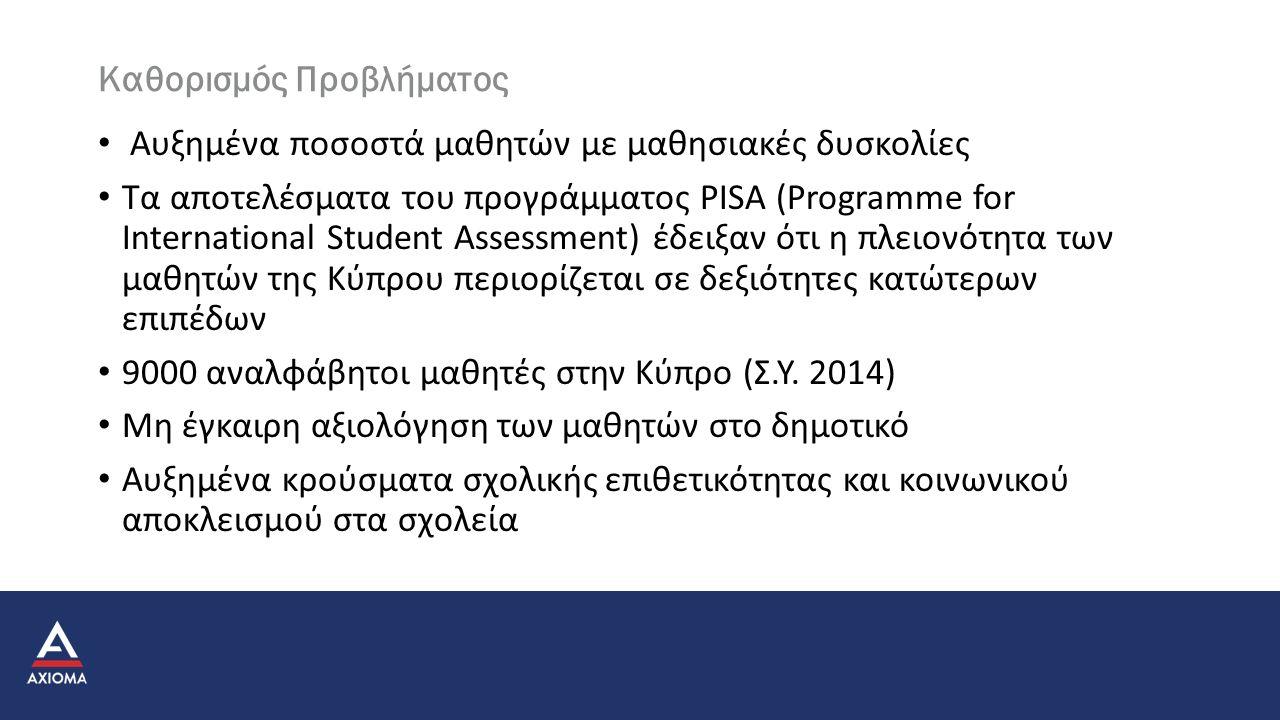 Καθορισμός Προβλήματος Αυξημένα ποσοστά μαθητών με μαθησιακές δυσκολίες Τα αποτελέσματα του προγράμματος PISA (Programme for International Student Assessment) έδειξαν ότι η πλειονότητα των μαθητών της Κύπρου περιορίζεται σε δεξιότητες κατώτερων επιπέδων 9000 αναλφάβητοι μαθητές στην Κύπρο (Σ.Υ.