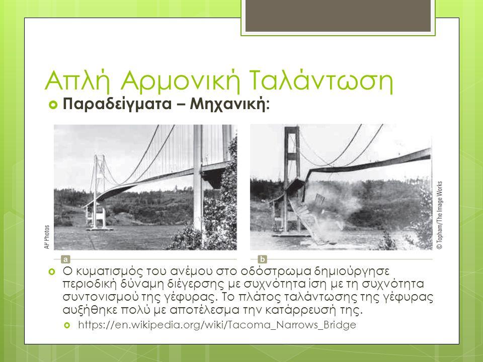  Παραδείγματα – Μηχανική:  Ο κυματισμός του ανέμου στο οδόστρωμα δημιούργησε περιοδική δύναμη διέγερσης με συχνότητα ίση με τη συχνότητα συντονισμού
