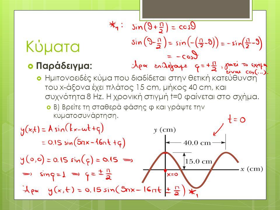  Παράδειγμα:  Ημιτονοειδές κύμα που διαδίδεται στην θετική κατεύθυνση του x-άξονα έχει πλάτος 15 cm, μήκος 40 cm, και συχνότητα 8 Hz. Η χρονική στιγ