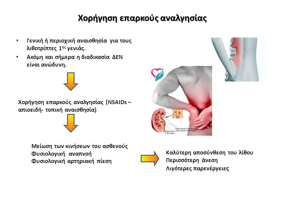 Χορήγηση επαρκούς αναλγησίας Γενική ή περιοχική αναισθησία για τους λιθοτρίπτες 1 ης γενιάς.