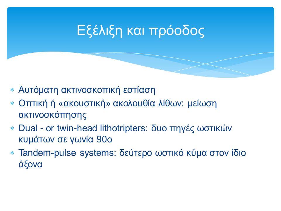  Αυτόματη ακτινοσκοπική εστίαση  Οπτική ή «ακουστική» ακολουθία λίθων: μείωση ακτινοσκόπησης  Dual - or twin-head lithotripters: δυο πηγές ωστικών