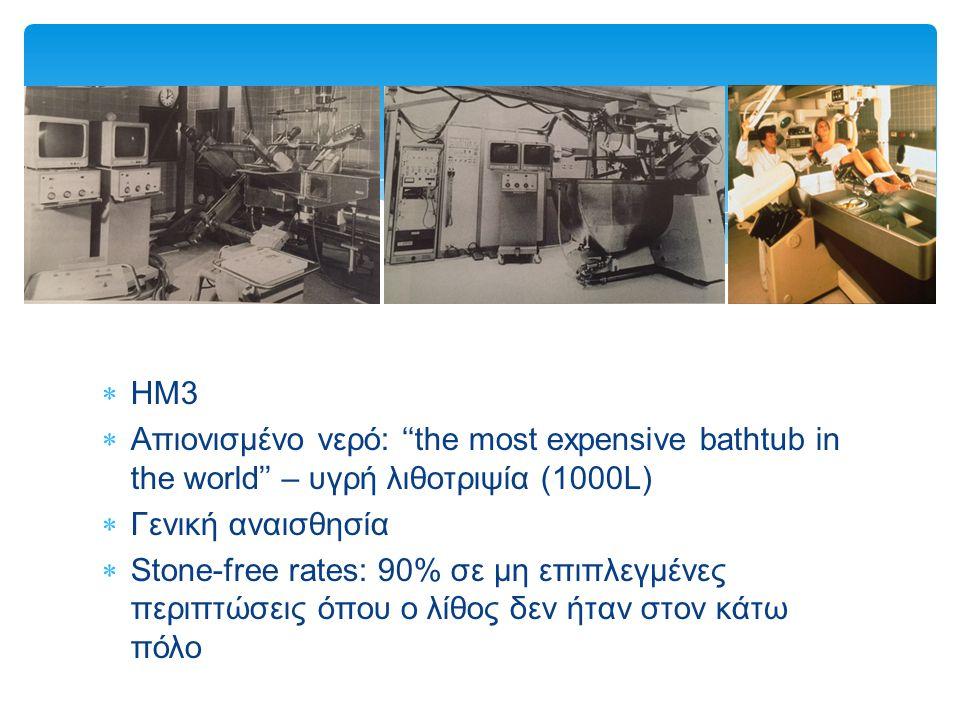  HM3  Απιονισμένο νερό: ''the most expensive bathtub in the world'' – υγρή λιθοτριψία (1000L)  Γενική αναισθησία  Stone-free rates: 90% σε μη επιπλεγμένες περιπτώσεις όπου ο λίθος δεν ήταν στον κάτω πόλο
