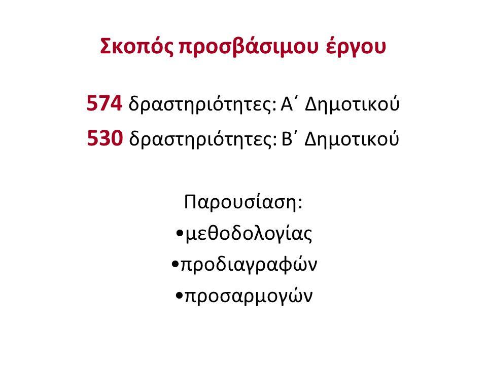 Σκοπός προσβάσιμου έργου 574 δραστηριότητες: Α΄ Δημοτικού 530 δραστηριότητες: Β΄ Δημοτικού Παρουσίαση: μεθοδολογίας προδιαγραφών προσαρμογών