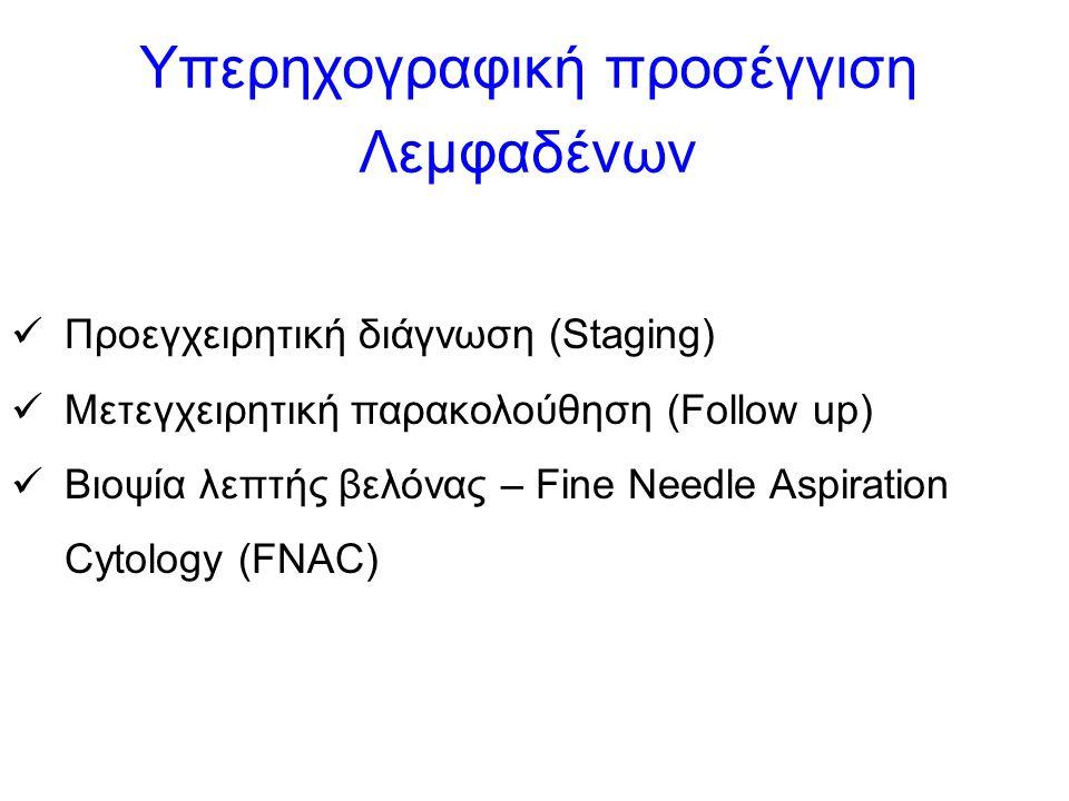 Υπερηχογραφική προσέγγιση Λεμφαδένων Προεγχειρητική διάγνωση (Staging) Μετεγχειρητική παρακολούθηση (Follow up) Βιοψία λεπτής βελόνας – Fine Needle Aspiration Cytology (FNAC)