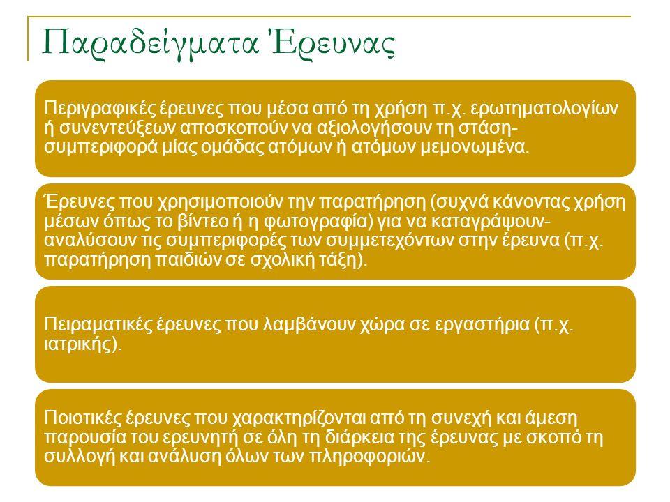 Παραδείγματα Έρευνας Περιγραφικές έρευνες που μέσα από τη χρήση π.χ.