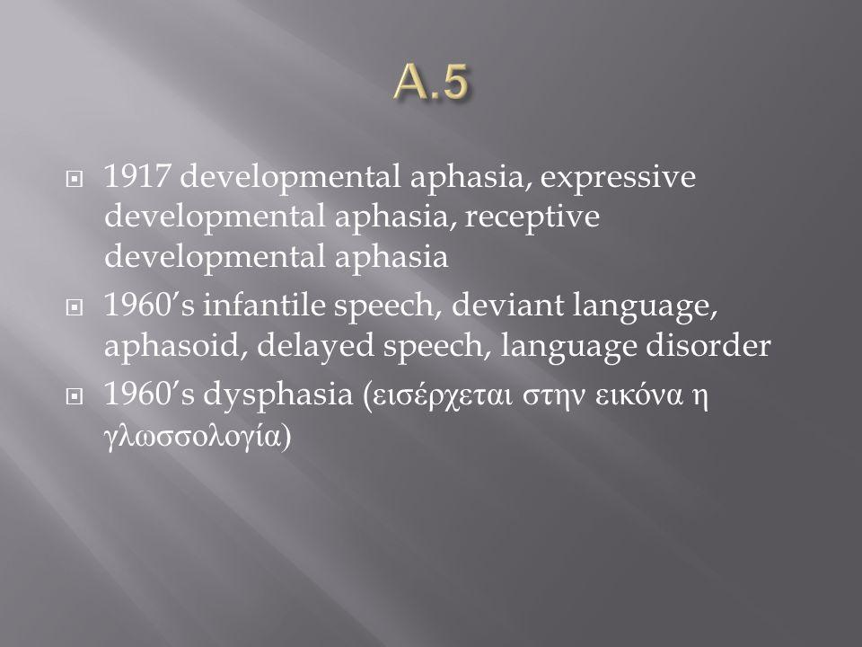  1917 developmental aphasia, expressive developmental aphasia, receptive developmental aphasia  1960's infantile speech, deviant language, aphasoid, delayed speech, language disorder  1960's dysphasia ( εισέρχεται στην εικόνα η γλωσσολογία )