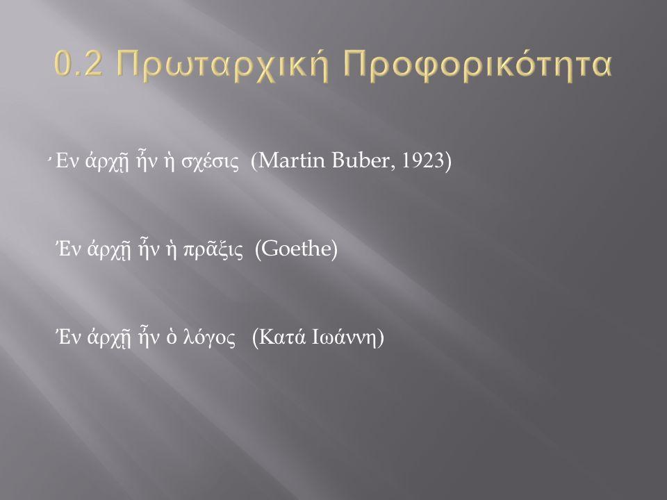 ̛ Εν ἀ ρχ ῇ ἦ ν ἡ σχέσις (Martin Buber, 1923) Ἐ ν ἀ ρχ ῇ ἦ ν ἡ πρ ᾶ ξις (Goethe) Ἐ ν ἀ ρχ ῇ ἦ ν ὁ λόγος ( Κατά Ιωάννη )