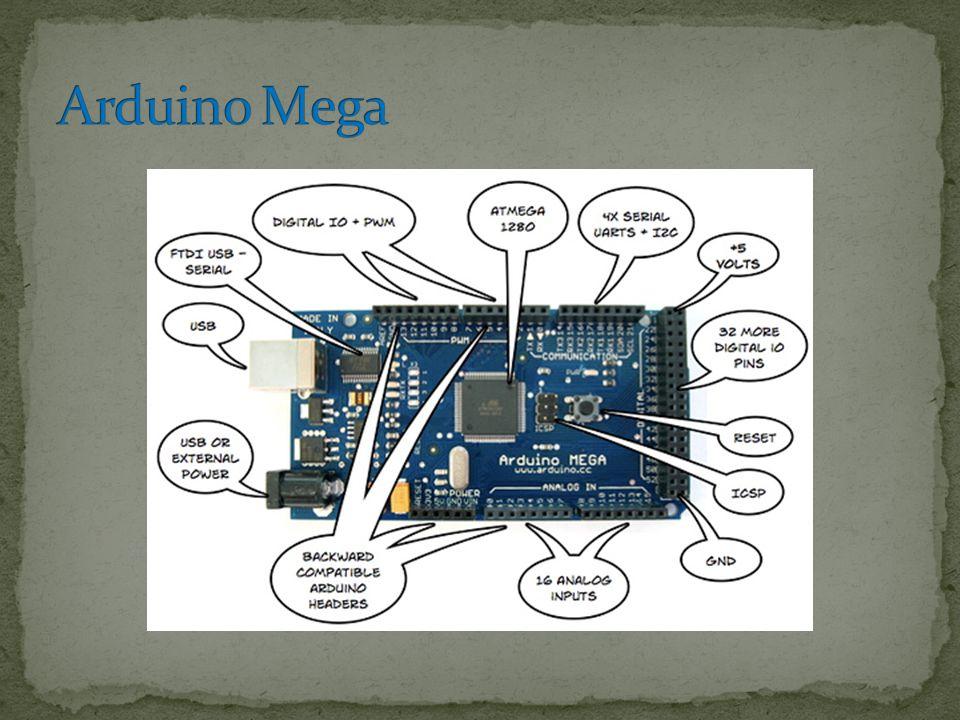 Βασισμένη στον Atmega 1280 54 ψηφιακές εισόδους-εξόδους 16 αναλογικές εισόδους υποδοχή για τροφοδοσία Ακροδέκτες Vcc (5 volts και 3,3 volts) και Ground κουμπί reset
