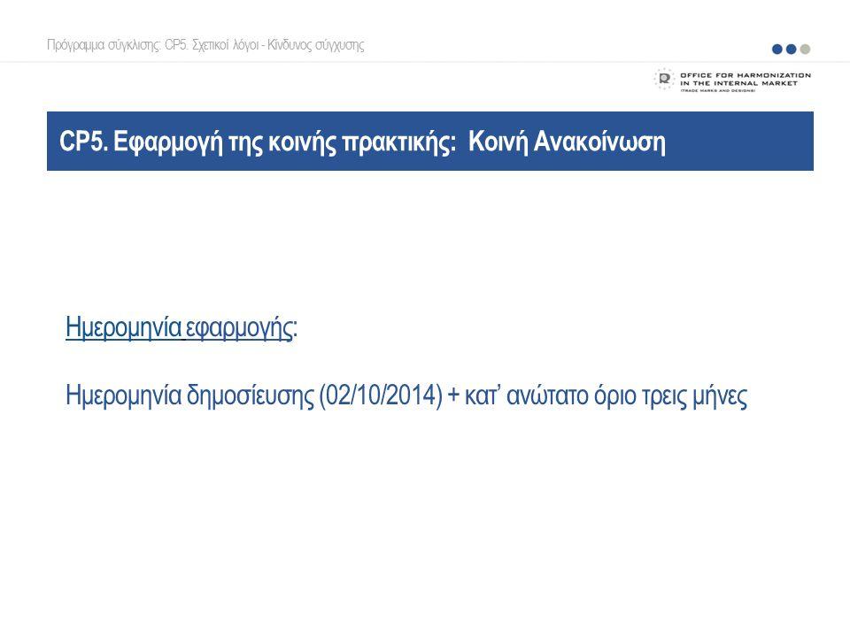 CP5. Εφαρμογή της κοινής πρακτικής: Κοινή Ανακοίνωση Ημερομηνία εφαρμογής: Ημερομηνία δημοσίευσης (02/10/2014) + κατ' ανώτατο όριο τρεις μήνες Πρόγραμ