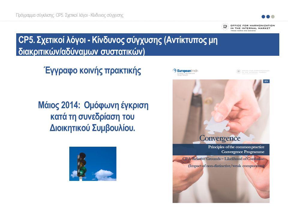 CP5. Σχετικοί λόγοι - Κίνδυνος σύγχυσης (Αντίκτυπος μη διακριτικών/αδύναμων συστατικών) Έγγραφο κοινής πρακτικής Μάιος 2014: Ομόφωνη έγκριση κατά τη σ