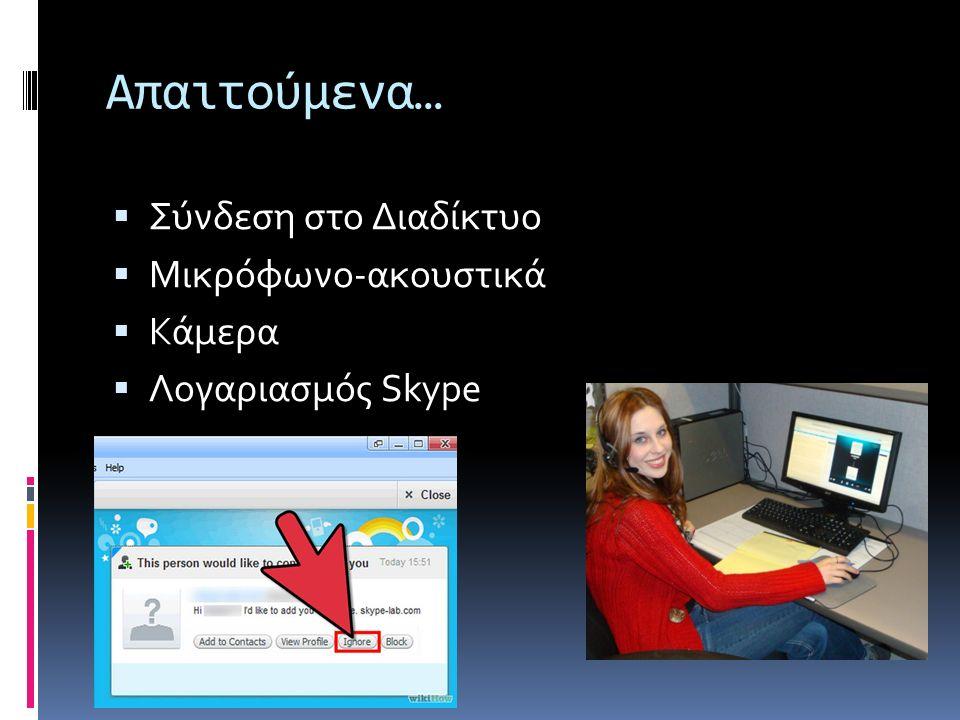 Απαιτούμενα…  Σύνδεση στο Διαδίκτυο  Μικρόφωνο-ακουστικά  Κάμερα  Λογαριασμός Skype