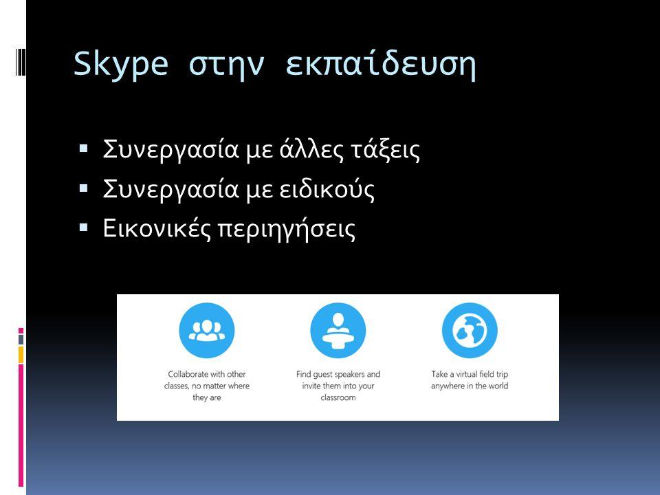 Skype στην εκπαίδευση  Συνεργασία με άλλες τάξεις  Συνεργασία με ειδικούς  Εικονικές περιηγήσεις