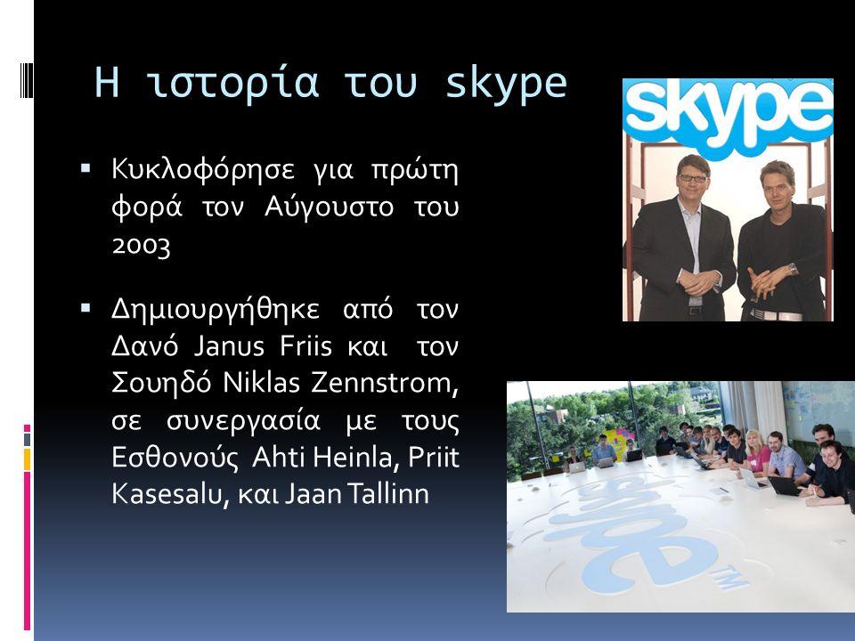 Η ιστορία του skype  Κυκλοφόρησε για πρώτη φορά τον Αύγουστο του 2003  Δημιουργήθηκε από τον Δανό Janus Friis και τον Σουηδό Niklas Zennstrom, σε συνεργασία με τους Εσθονούς Ahti Heinla, Priit Kasesalu, και Jaan Tallinn