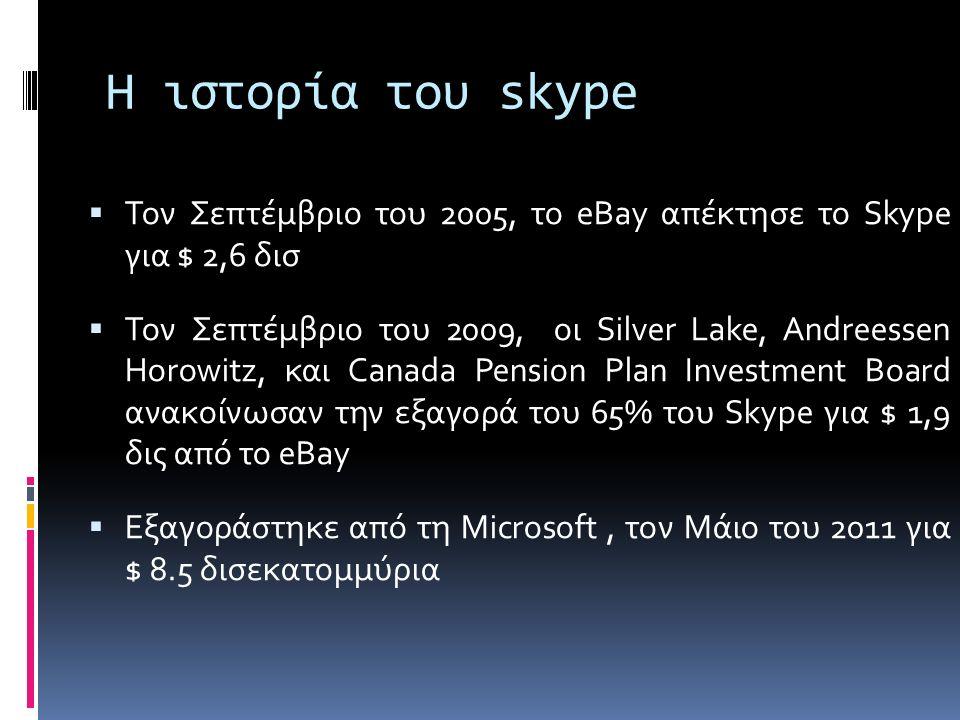 Η ιστορία του skype  Τον Σεπτέμβριο του 2005, το eBay απέκτησε το Skype για $ 2,6 δισ  Τον Σεπτέμβριο του 2009, οι Silver Lake, Andreessen Horowitz, και Canada Pension Plan Investment Board ανακοίνωσαν την εξαγορά του 65% του Skype για $ 1,9 δις από το eBay  Εξαγοράστηκε από τη Microsoft, τον Μάιο του 2011 για $ 8.5 δισεκατομμύρια
