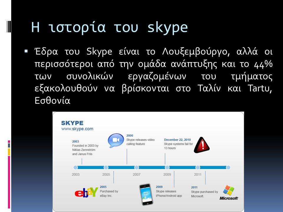 Η ιστορία του skype  Έδρα του Skype είναι το Λουξεμβούργο, αλλά οι περισσότεροι από την ομάδα ανάπτυξης και το 44% των συνολικών εργαζομένων του τμήματος εξακολουθούν να βρίσκονται στο Ταλίν και Tartu, Εσθονία
