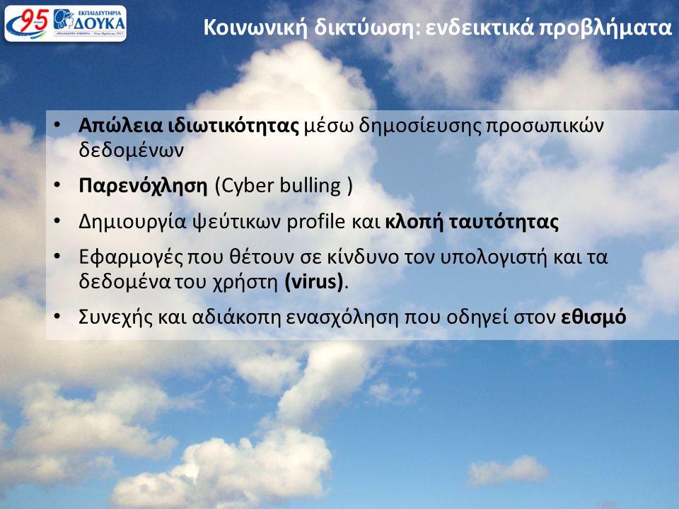 Απώλεια ιδιωτικότητας μέσω δημοσίευσης προσωπικών δεδομένων Παρενόχληση (Cyber bulling ) Δημιουργία ψεύτικων profile και κλοπή ταυτότητας Εφαρμογές που θέτουν σε κίνδυνο τον υπολογιστή και τα δεδομένα του χρήστη (virus).