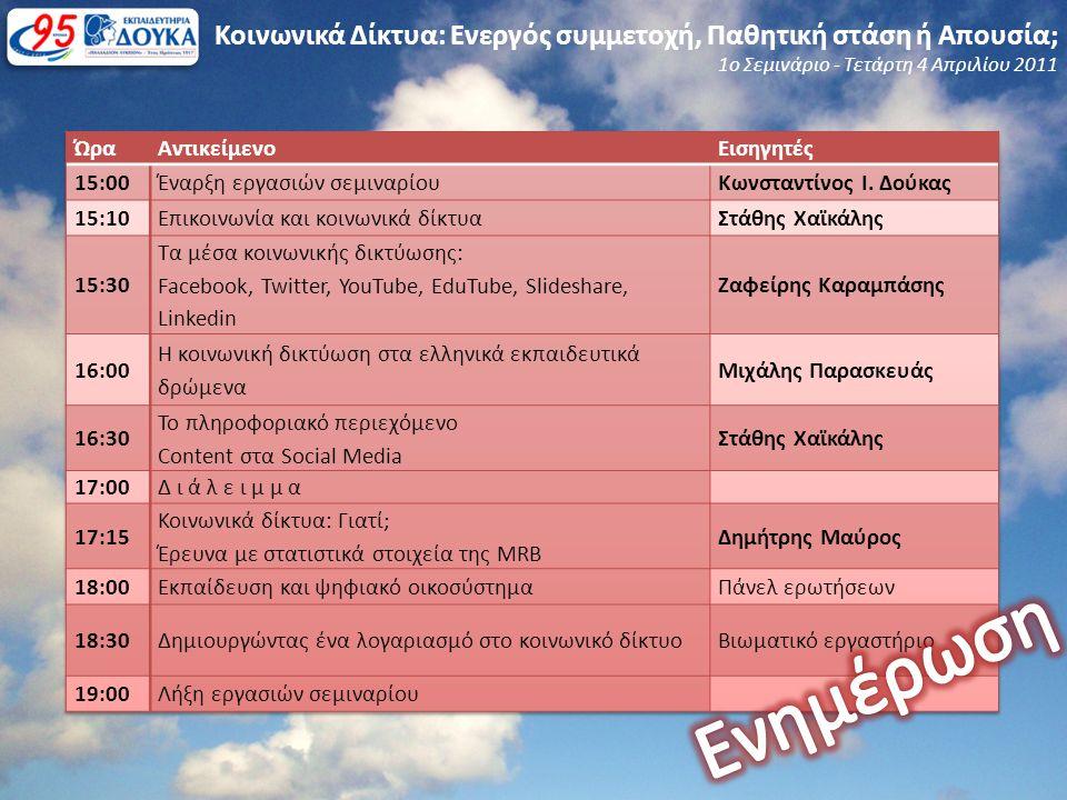 Κοινωνικά Δίκτυα: Ενεργός συμμετοχή, Παθητική στάση ή Απουσία; 1ο Σεμινάριο - Τετάρτη 4 Απριλίου 2011